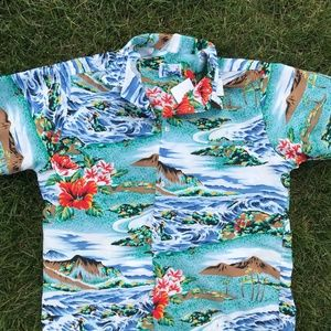 All Over Print Volcano ocean Beach Hawaiian Shirt